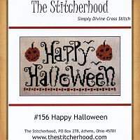 """Happy Halloween"" Cross Stitch Pattern - Counted Cross Stitch Patterns - Celtic Patterns, Pagan Patterns, Fantasy Patterns and more, Halloween, Samhain"