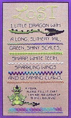 Lost Dragon Cross Stitch Sampler - Counted Cross Stitch Patterns - Celtic Cross Stitch Patterns, Pagan Cross Stitch Patterns, Fantasy Cross Stitch Patterns and more, Here Be Dragons!