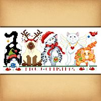 Meowy Christmas Cross Stitch Pattern