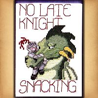 """No Late Knight Snacking"" Cross Stitch Pattern"
