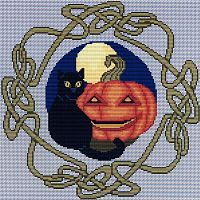 Black Cat Samhain Cross Stitch Pattern