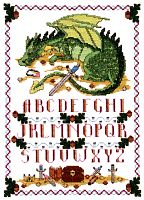 Sleeping Dragon Sampler Cross Stitch Pattern