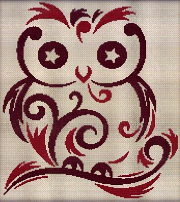 Starry Eyed Owl - Cross Stitch Pattern - Counted Cross Stitch Patterns - Celtic Patterns, Pagan Patterns, Fantasy Patterns and more, Owls
