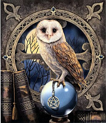 The Spell Keeper Cross Stitch Pattern - Counted Cross Stitch Patterns - Celtic Cross Stitch Patterns, Pagan Cross Stitch Patterns, Fantasy Cross Stitch Patterns and more, Owls