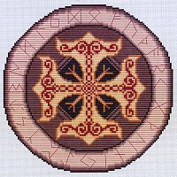Thor's Shield Cross Stitch Pattern - Cross-stitch Patterns, Pentacles, Moons & Stars