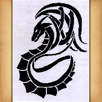 Tribal Dragon Cross Stitch Pattern
