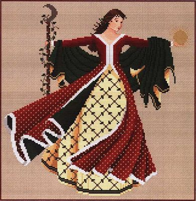 Dance of the Winter Solstice Cross Stitch Pattern - Counted Cross Stitch Patterns - Celtic Patterns, Pagan Patterns, Fantasy Patterns and more, Holiday Cross-stitch, Wheel of the Year