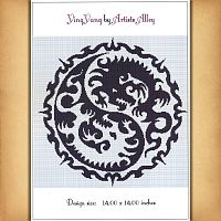 Yin Yang Dragon Cross Stitch Pattern - Counted Cross Stitch Patterns - Celtic Cross Stitch Patterns, Pagan Cross Stitch Patterns, Fantasy Cross Stitch Patterns and more, Here Be Dragons!