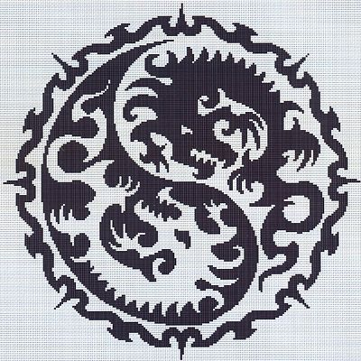 Yin Yang Dragon Cross Stitch Pattern