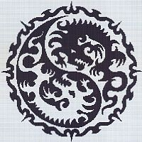 Yin Yang Dragon Cross Stitch Pattern - Counted Cross Stitch Patterns - Celtic Patterns, Pagan Patterns, Fantasy Patterns and more, Here Be Dragons!