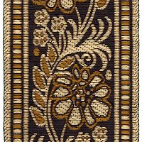 Golden Brown, Gold, and Black Floral Trim