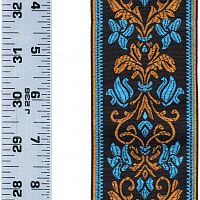 Turquoise, Non-metallic Bronze, and Black Floral Trim - Trim