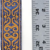 Copper and Metallic Blue Arabesque Trim