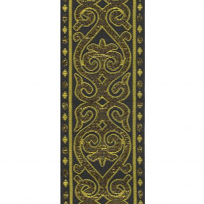 Black and Metallic Gold Arabesque Trim