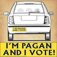"""I'm Pagan and I Vote!"" Bumper Sticker"