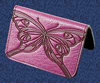 Butterfly Mini Wallet/Card Holder - Leather Mini Wallets /  Card Holders, Butterflies and Dragonflies