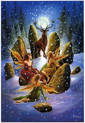 Yule Stag Greeting Card - Fairies, Yule & Christmas Cards
