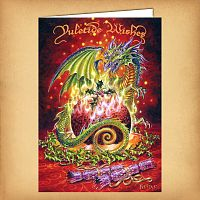 Flaming Dragon Pudding Yule Card