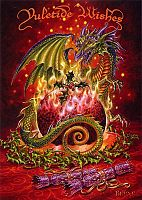 Flaming Dragon Pudding Yule Card - Here Be Dragons!, Yule & Christmas Cards