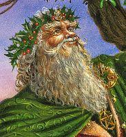 Gathering the Mistletoe Greeting Card - Trees & Greenman, Yule & Christmas Cards