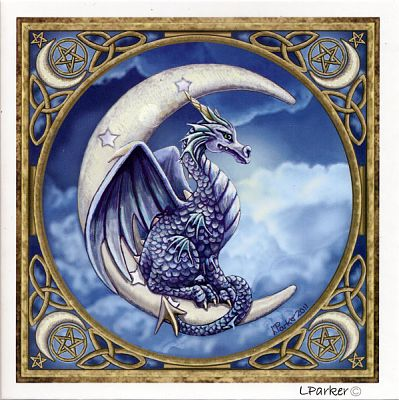 Moon Dragon Greeting Card - Greeting Cards, Here Be Dragons!