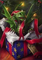 Surprise Gift Greeting Card - Here Be Dragons!, Yule & Christmas Cards