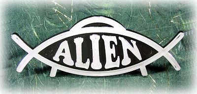 Alien Fish Plaque - Darwin Fish & Friends, Ocean Mysteries,