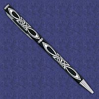 Silver on Black Celtic Knot Pen - Celtic Pens, Journals & Pens