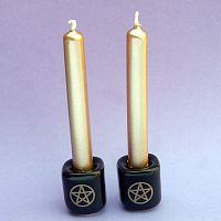 Pair of Plain Black with Gold Pentacles Mini Candle Holders