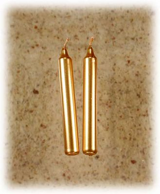 Gold Candles - set of 2 mini candles - Mini Candles, Portable Altars, Candles, Altar Accessories