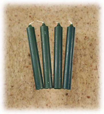 Green Candles - set of 4 mini candles - Mini Candles, Portable Altars, Candles, Altar Accessories