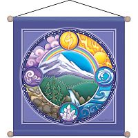 Rainbow Mountain Meditation Banner - Banners & Flags
