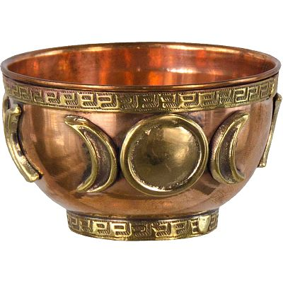 Triple Moon Copper Bowl Incense Burner