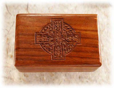 shop wooden box - celtic cross