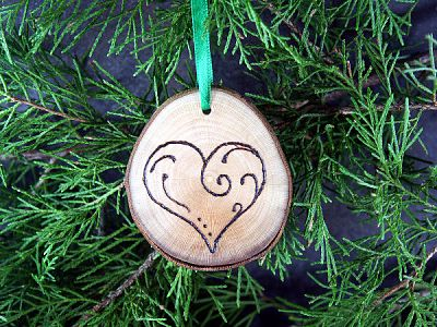 Heart wooden ornament small at gryphon s moon