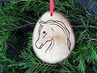 Horse Head Wooden Ornament - Handcrafted Wooden Ornaments, Horses