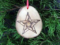 Quilted Star Wooden Ornament - Handcrafted Wooden Ornaments, Stars