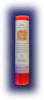 Love Candle - Reiki Charged Herbal Pillars, Reiki Candles, Candles, Altar Accessories, Hearts & Romance