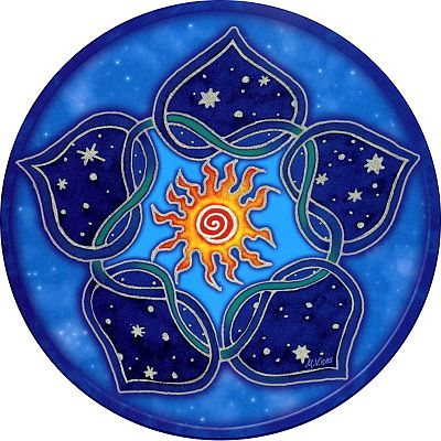 Solar Lotus Window Sticker - Window Stickers, Moons & Stars,