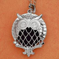 Owl Aromatherapy Locket - Silver Tone - Aromatherapy, Other Pendants - Pewter, Steel, Bronze, Bone, etc., Owls
