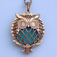Owl Aromatherapy Locket - Bronze Tone - Aromatherapy, Other Pendants - Pewter, Steel, Bronze, Bone, etc., Owls