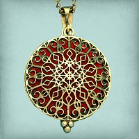 Rose Window Aromatherapy Locket - Bronze Tone - Aromatherapy, Other Pendants - Pewter, Steel, Bronze, Bone, etc.