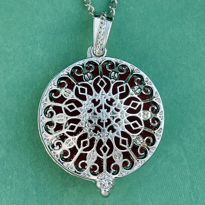 Rose Window Aromatherapy Locket - Silver Tone