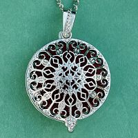 Rose Window Aromatherapy Locket - Silver Tone - Aromatherapy, Other Pendants - Pewter, Steel, Bronze, Bone, etc.