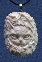 Bone Kitty and Vines Pendant - More Pendants, Cats, Trees & Greenman