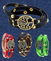 Tree of Life Leather Wrap Bracelet - Trees & Greenman, Bracelets, Bracelets & Anklets