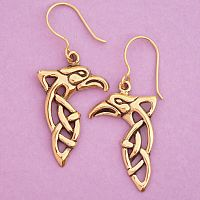 Bronze Celtic Raven Earrings