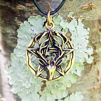 Bronze Stag Head Pentacle Pendant