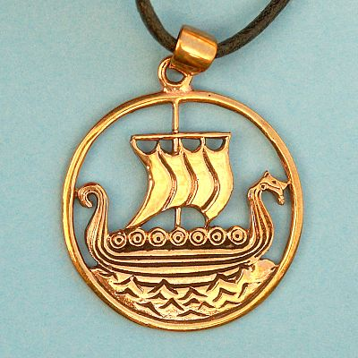 Bronze Viking Ship Pendant