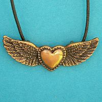 Winged Heart Bronze Pendant